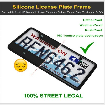 MingShore US License Plate Frame 2 PCs-Black