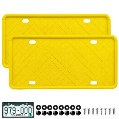 MingShore Custom US CA Silicone License Plate Frame 2 PCs Yellow